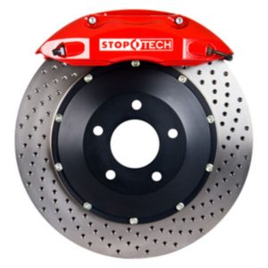 StopTech Big Brake Kit; Red Caliper; Drilled Two-Piece Zinc Coated Rotor; Rear