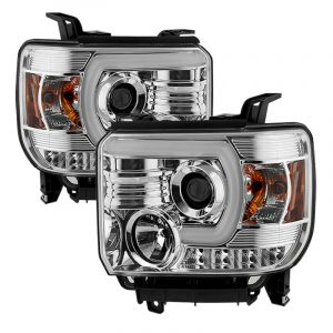Spyder GMC Sierra 14-16 Projector Headlights Light Bar DRL Chrome PRO-YD-GS14-LBDRL-C