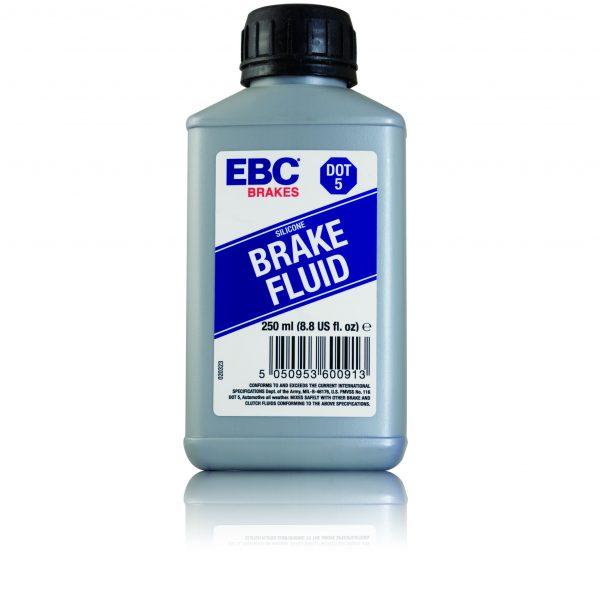 1 250ml bottle of EBC Brakes DOT-5 silicone based fluid.