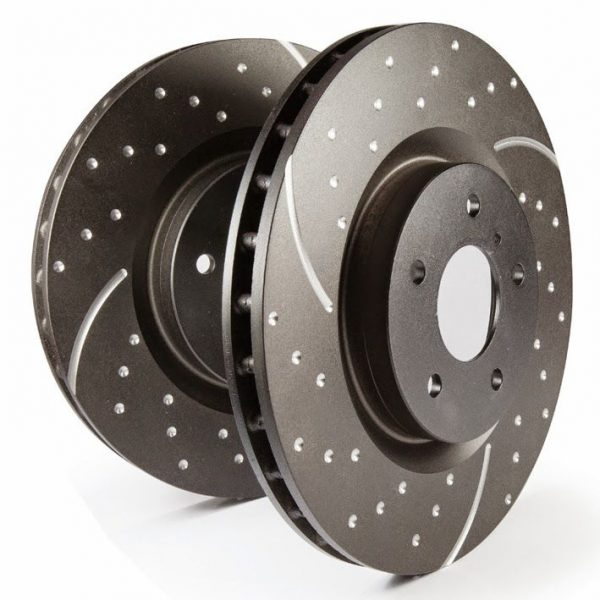 GD sport rotors, wide slots for cooling to reduce temps preventing brake fade.