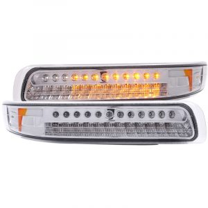 ANZO 1999-2002 Chevrolet Silverado 1500 LED Parking Lights Chrome w/ Amber Reflector